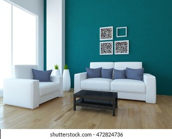 blue interior with white furniture and vases. 3d illustration