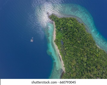 The Blue Island of Bulupoloe in the Gulf of Bone South Sulawesi Indonesia. This island is one of favorite tourist destination in Luwu Timur regency, also the fishing ground for the local fisherman.