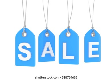 Blue isolated sale labels on white background. Price tags. Special offer and promotion. Store discount. Shopping time. 3D rendering.