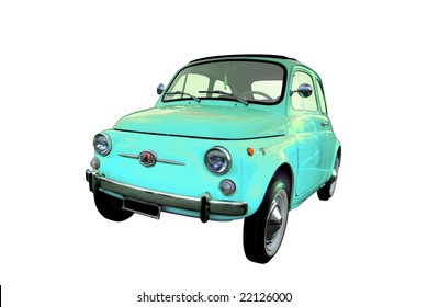 Blue Italian Fiat 500 isolated on a white background