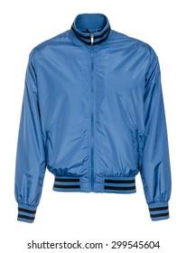 blue jacket on white background