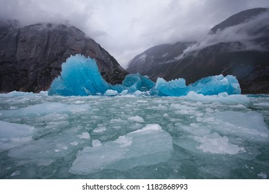 Blue Jagged Icebergs and Misty Mountains