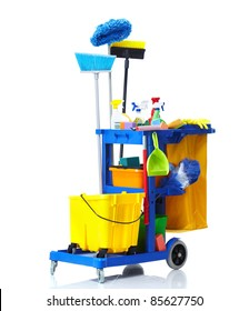 Blue janitor cart. Isolated over white background.