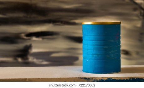 Blue jar at black and white background.