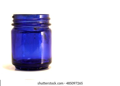 Blue Jar on White Background