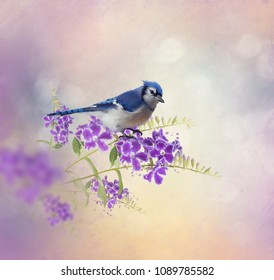 Blue Jay Perching on Blue Flowers watercolor painting