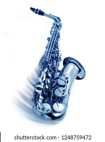 blue jazz saxophone with swing movement, isolated
