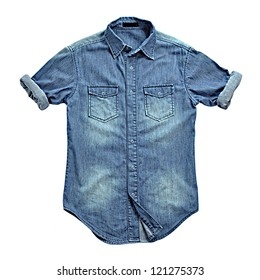 Blue jean shirt isolated