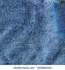 blue jeans material with seam on pocket fabric background texture