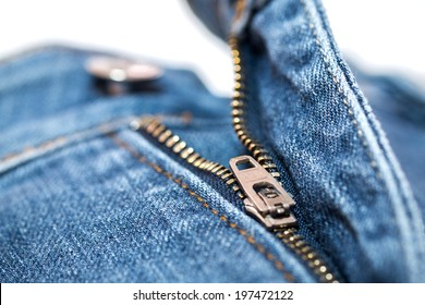 Blue Jean zipper with texture closeup view