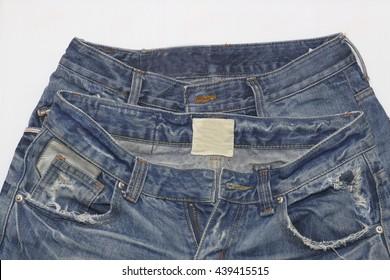 blue jean,blue denim on white paper,isolated on white