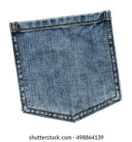 blue jeans back pocket isolated on white background