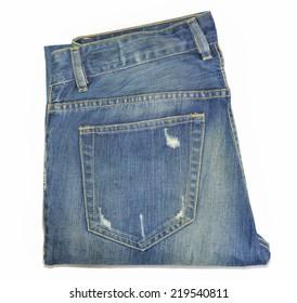 blue jeans back pocket tear stack isolate on white background