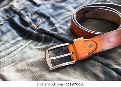 Blue jeans with Belt, Denim jeans texture, Denim background texture.
