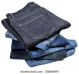 Blue jeans in column on white background.