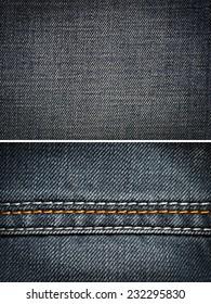 blue jeans, cotton fabric texture. coarse canvas background - closeup pattern