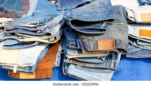 Blue jeans denim fashion pants mixed colors stacked