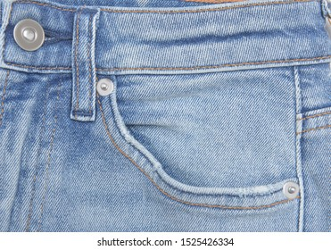 blue Jeans denim texture- front view pocket close up