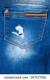 Blue jeans fabric texture close up, trims, seams, pockets