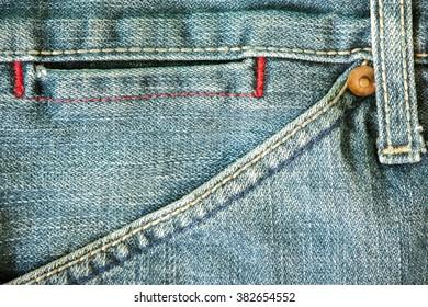 Blue jeans front pocket  close up detail.