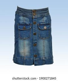 Blue jeans half Pant side pocket on white Background, New Delhi India.