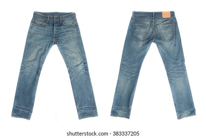 Blue jeans isolated on white background, Front and rear for design work