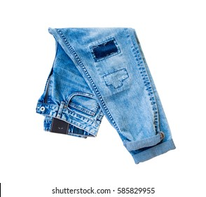 Blue jeans isolated on white background, Ripped Destroyed Torn Blue jeans background.