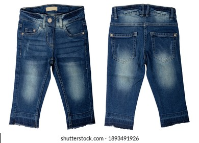 Blue jeans isolated. Trendy stylish dark blue denim pants or trousers for girls isolated on a white background. Kids summer and autumn fashion. Front and back view.