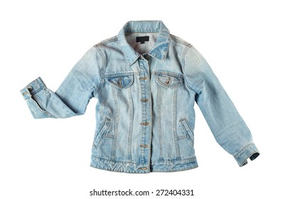 blue jeans jacket for women isolated on white background