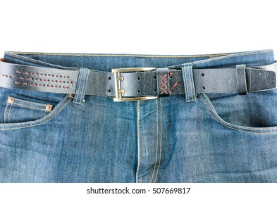 Blue jeans and leather belt isolated on white background