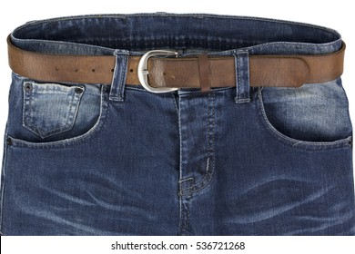 blue jeans with leather belt isolated on a white background - clipping paths