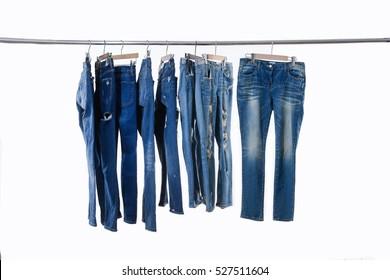 Blue jeans on hanger