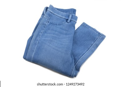 Blue jeans on white background.