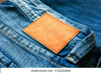 Blue Jeans Pant With Leather Blank Label
