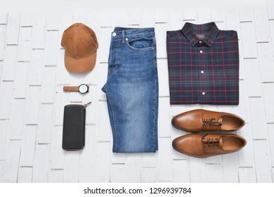 Blue jeans , Plaid Shirt of Checkered Tartan Pattern.Shirt, handbag, shoes, purse, watch, hat for Men