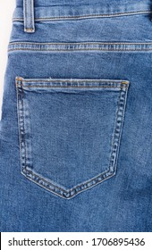 Blue Jeans pocket with seam isolated-back view