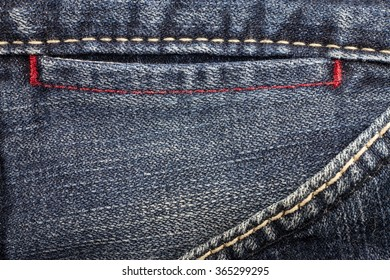 Blue jeans sewing line of closeup texture.