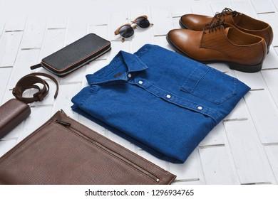 Blue jeans Shirt, handbag, shoes,sunglasses, purse, belt  for Men and Women.