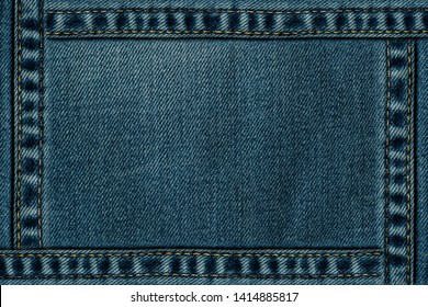 Blue Jeans texture with seam frame