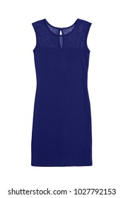 blue jersey dress with mesh top, isolated on white background
