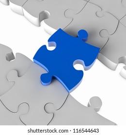 Blue jigsaw puzzle bridge over a gap in 3D