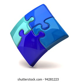 Blue jigsaw puzzle on white background