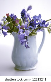 blue jug with blue spring flowers