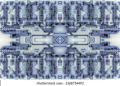 Blue kaleidoscopic circuit board background