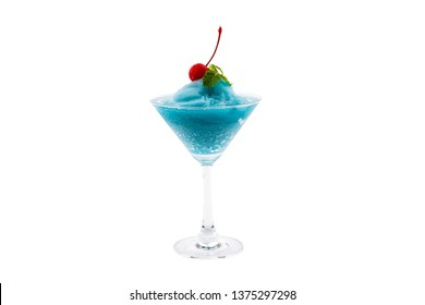 Blue Kamikaze Cocktail isolated on white background