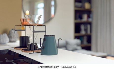 blue kettle on the table in the kitchen room