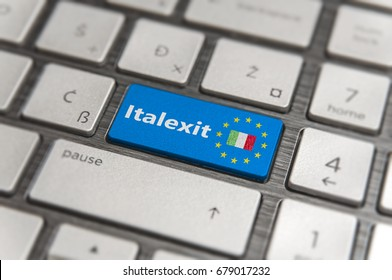 Blue key Enter Italy Italexit with EU keyboard button on modern text communication board