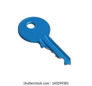 Blue key isolated on white background.