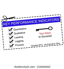 A blue Key Performance Indicators Coupon with great terms such as quantitative, qualitative, leading and more.