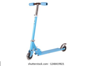 blue kick scooter isolated on white